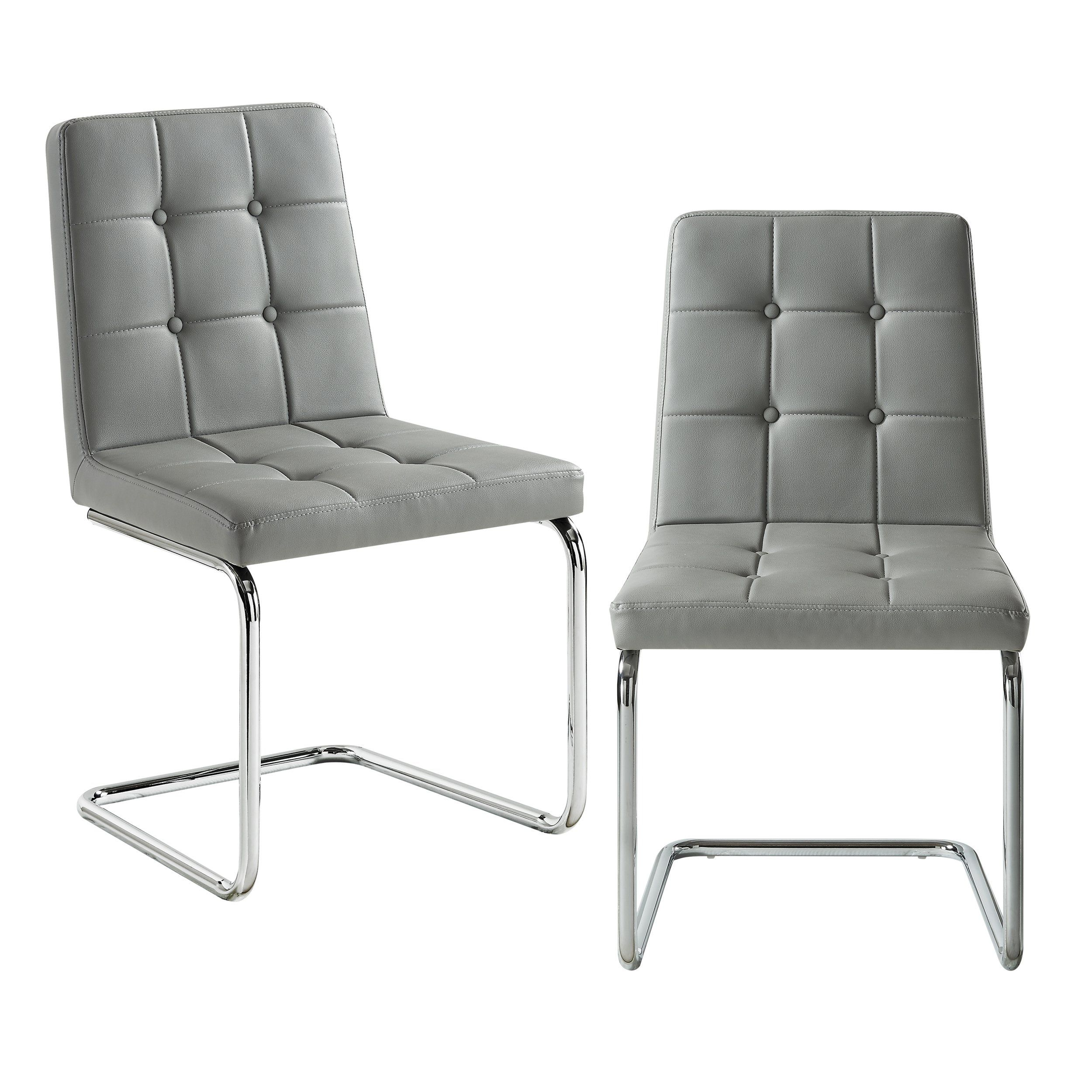 Clyde Grey Leather Dining Chair Set Of 2 Button Tufted Chrome Frame