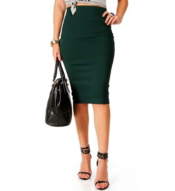 Hunter Green Pencil Skirt | Windsor | I'd Wear That | Pinterest ...