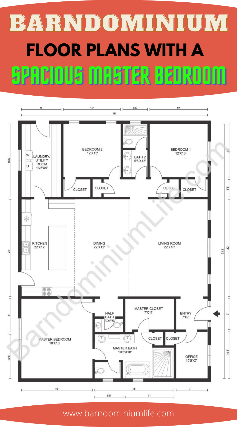 Barndominium Floor Plans with a Spacious Master Be