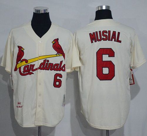 buy online d0b62 14e29 Mitchell And Ness 1963 Cardinals #6 Stan Musial Cream ...