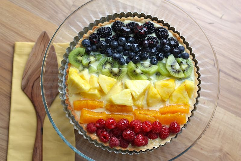 Rainbow Fruit Tart Recipe #desserts #dessertrecipes #yummy #delicious #food #sweet