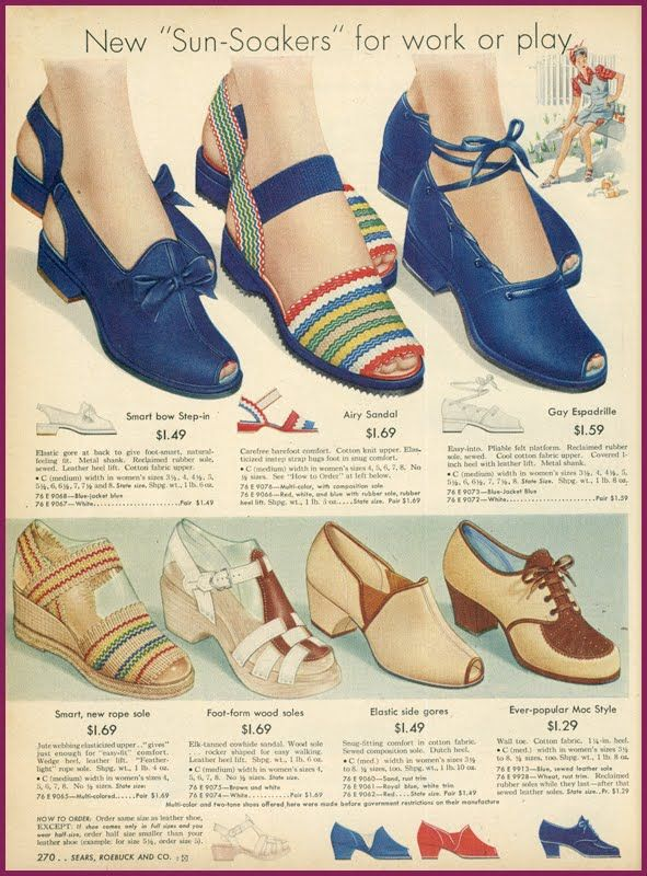1940 S Fashion Sears Catalogue Snappy Shoes Vintage Shoes 1940s Shoes Historical Shoes