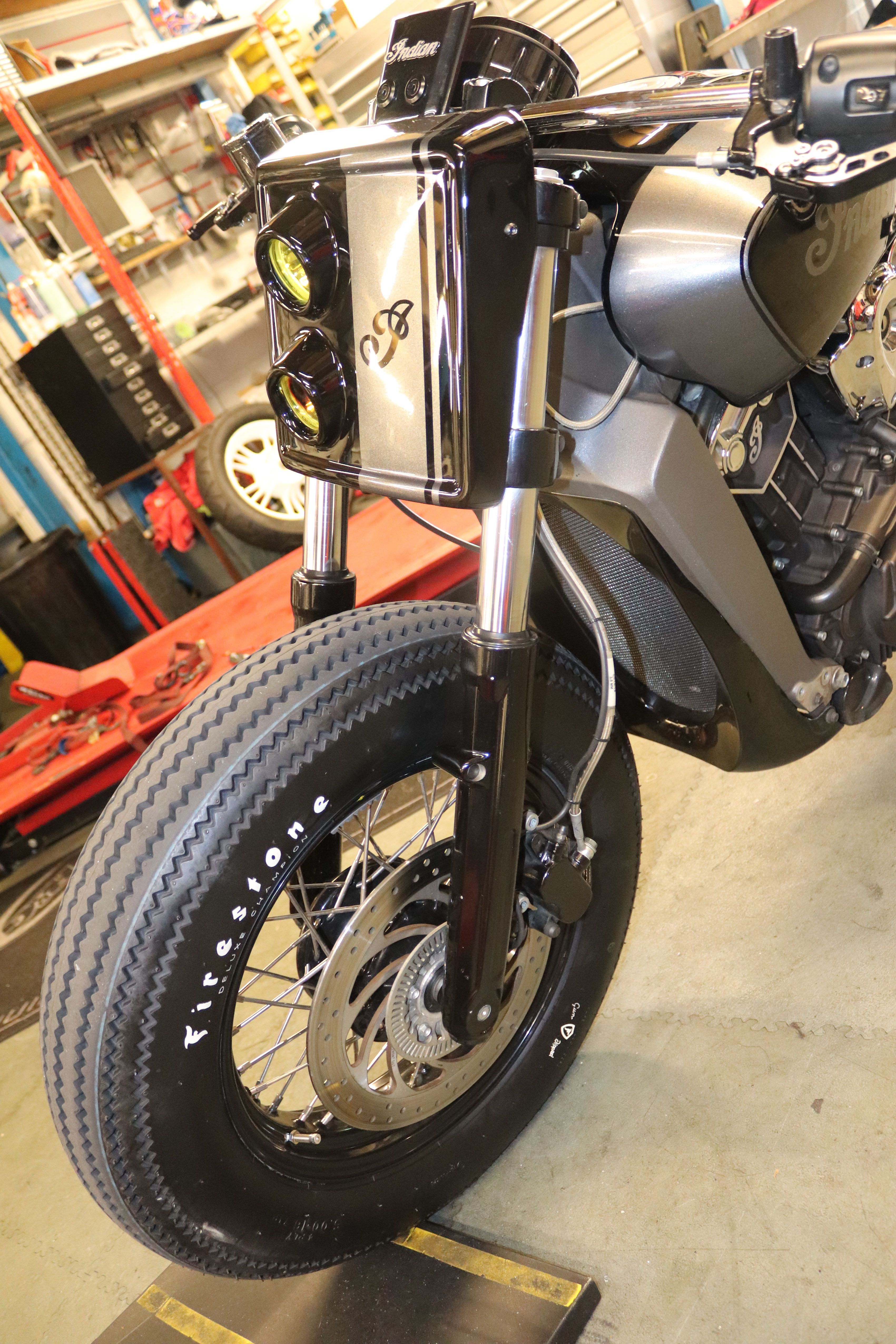 Spoke Wheels Firestone Tyres Custom Headlight For Custom Built
