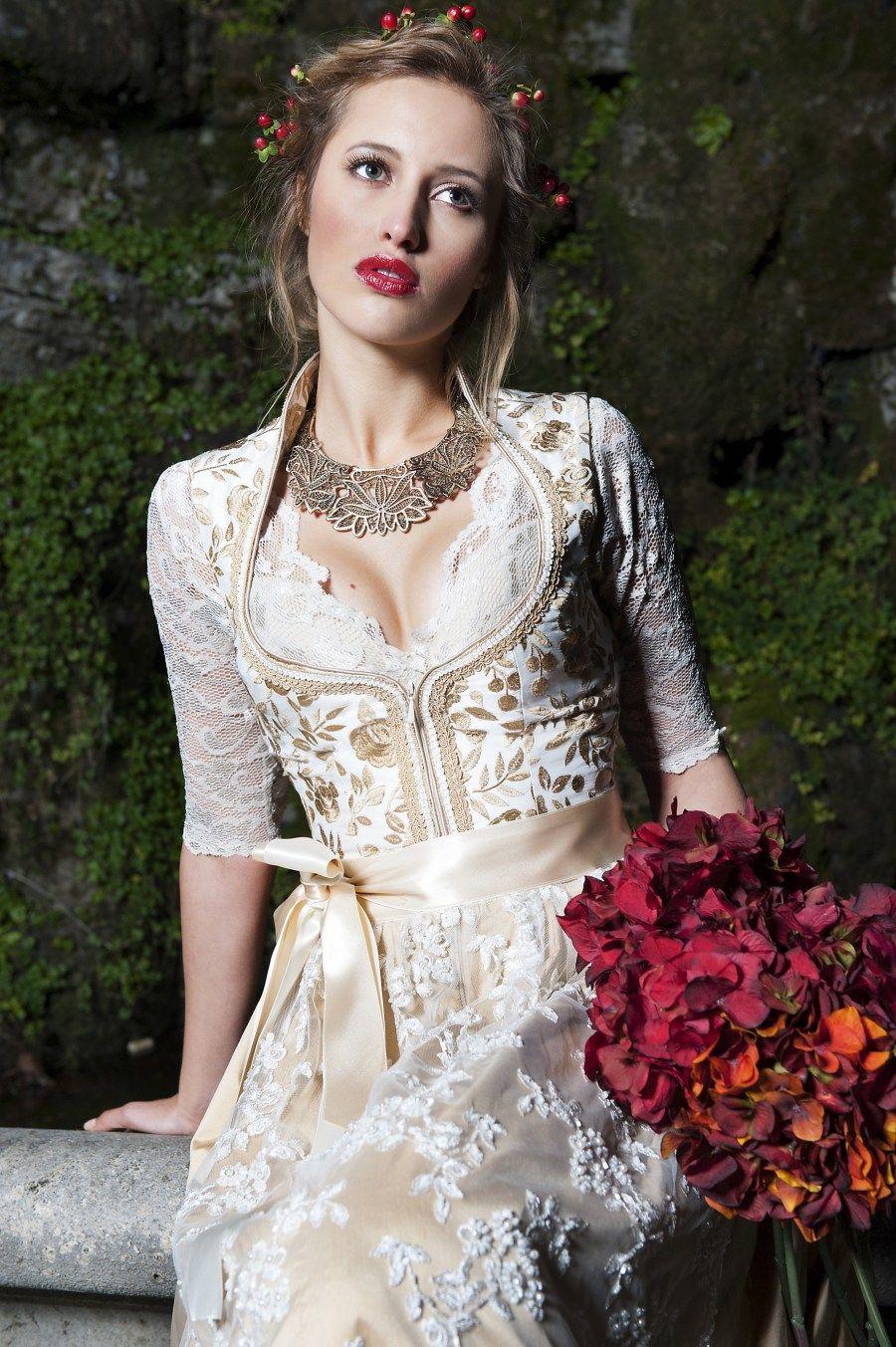 AlpenHerz Hochzeitsdirndl Victoria champagner/gold | Happily Ever ...