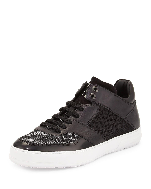 Salvatore Ferragamo Monroe 3 Men's Mixed Media Mid-Top Sneaker, Black