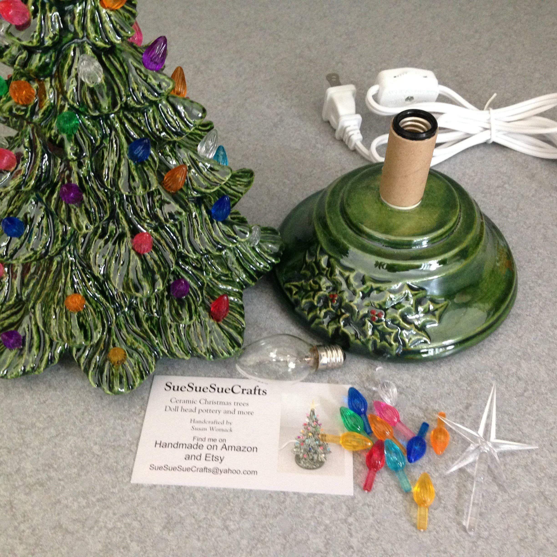 Ceramic Christmas Tree 11 tall Christmas Lighted Decoration Vintage