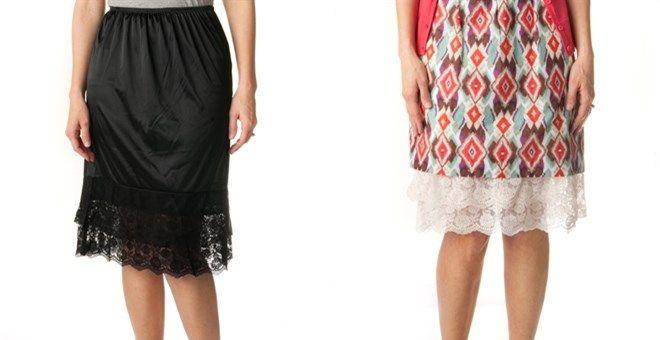 "23e8e2cb9d modest skirt extenders Extra Long Lace Slip Extenders - 2"" longer than  other slip extenders! Jane.com"
