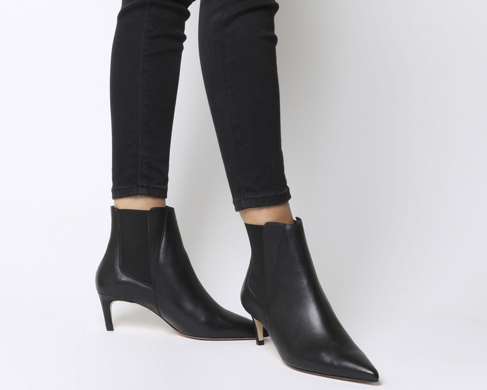 Office Attire Kitten Heel Chelsea Boots Black Leather Ankle Boots Kitten Heel Boots Kitten Heel Ankle Boots Boots Outfit Ankle