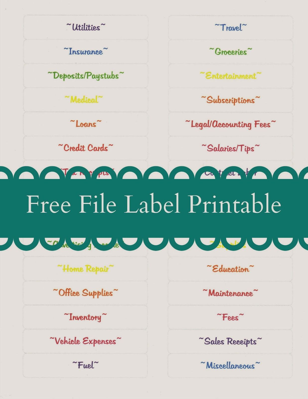 Free File Label Printable Tax Tips For Bloggers And Small Businesses Lear Small Business Organization Small Business Office Organization Business Printables