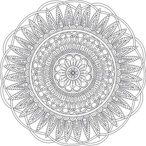 digital mandala art coloring page printable pdf serenity adult abstract