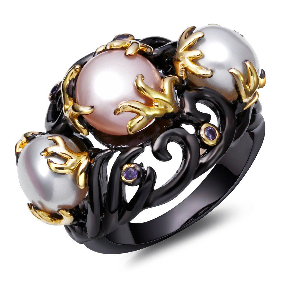 Rings For Unisex Pearl Copper Ring Black Gold Plated With Cubic Zircon  Finger Ring Fashion Jewelry