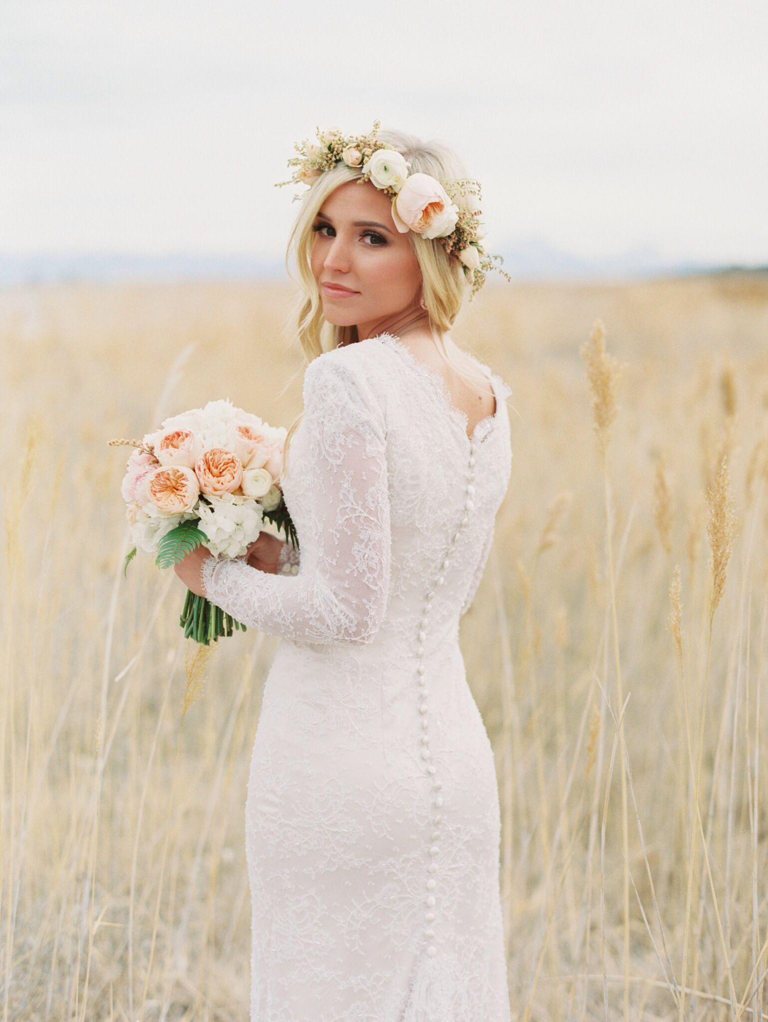 Flower crown wedding hair peonies and juliet roses long sleeved