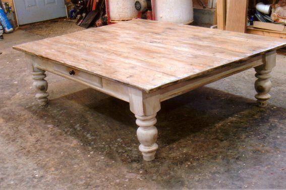 Custom Made Farmhouse Coffee Table Large Square Coffee Table Pine Coffee Table Rustic Square Coffee Table
