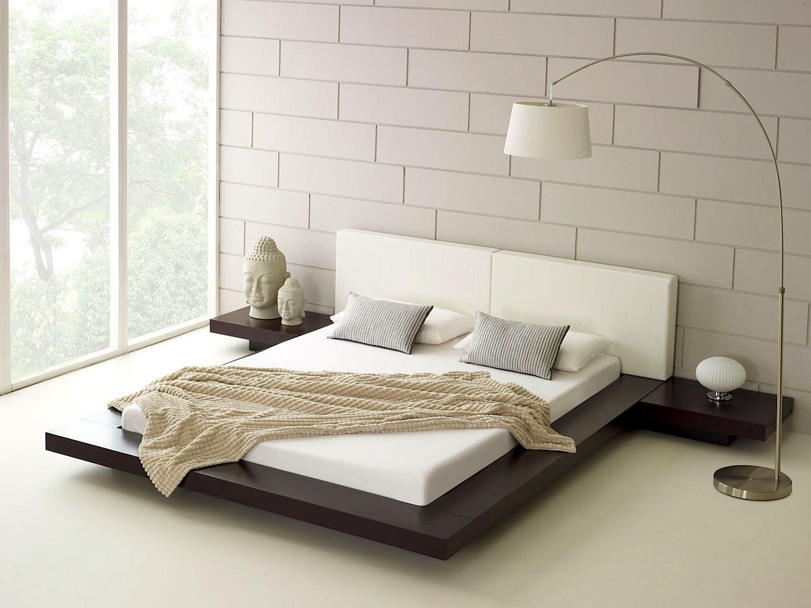 zen style minimalist bedroom with platform bed