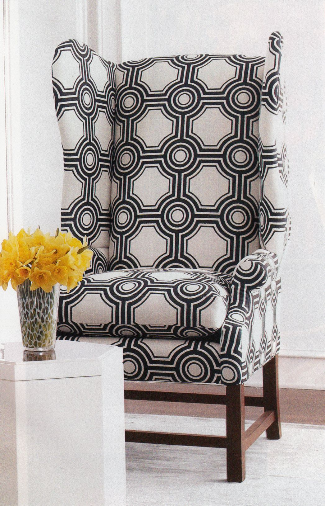 Modern Fabric On A Traditional Chair
