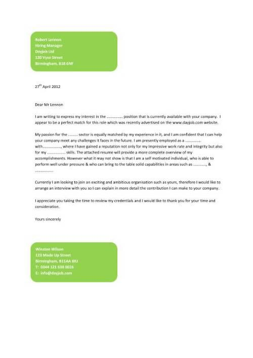 a stylish cover letter example that uses blocks of colour to emphasis the applicants and recipients - Cover Letter Sample Format