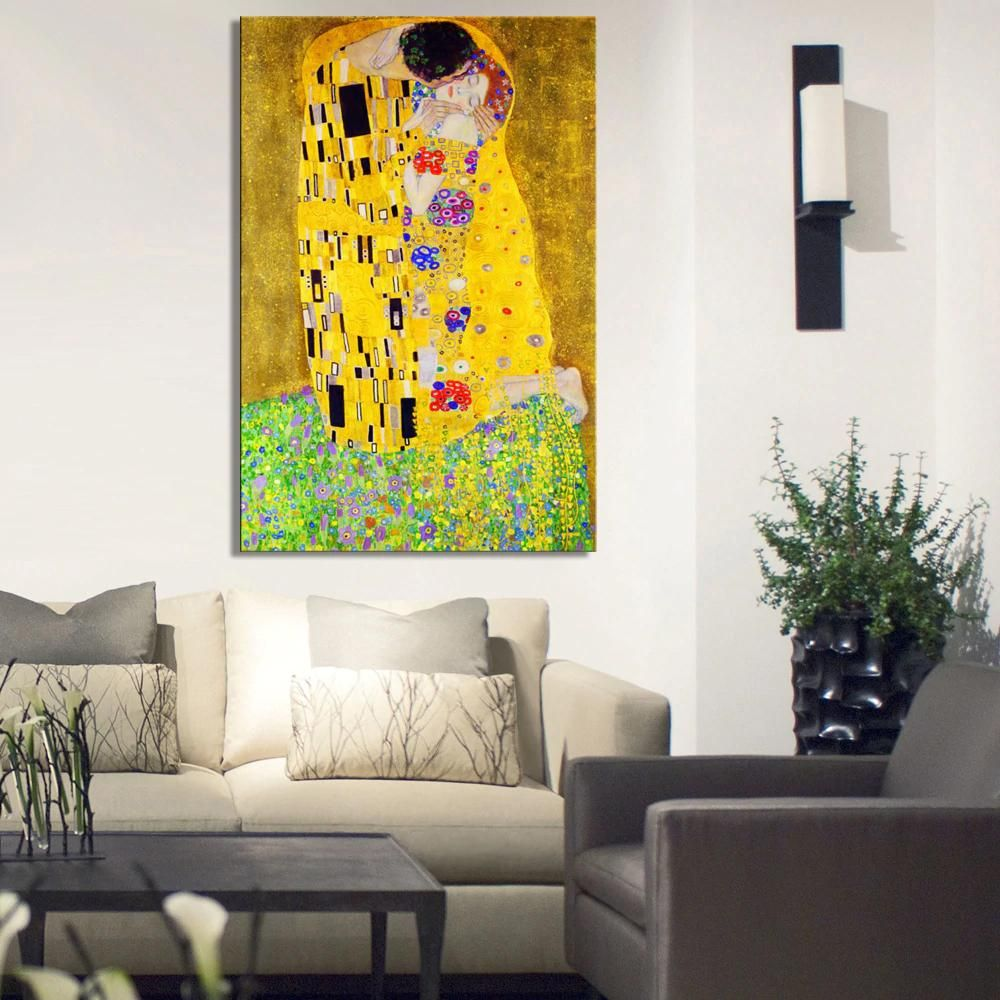 Famous Painting Gustav Klimt The Kiss Fine Art Canvas Print Wall Poster