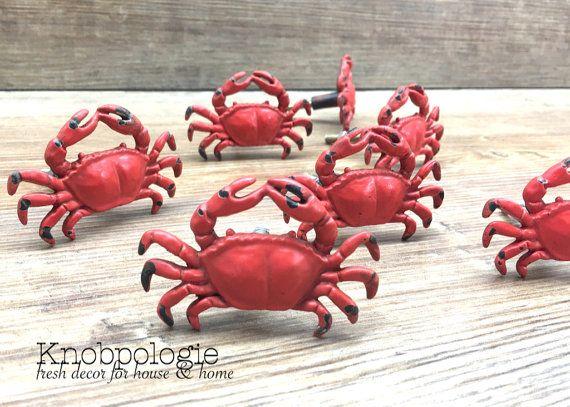 set of 8 red metal crab knobs hermit king crab dungeness