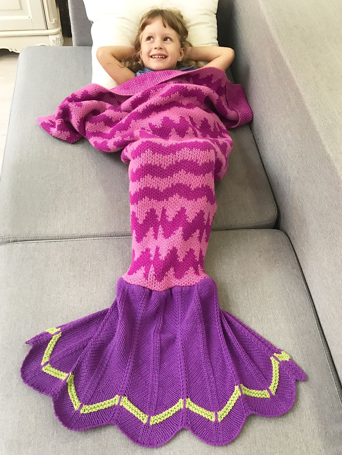 Winter Warmth Wavy Design Knitted Bedding Fish Tail ...