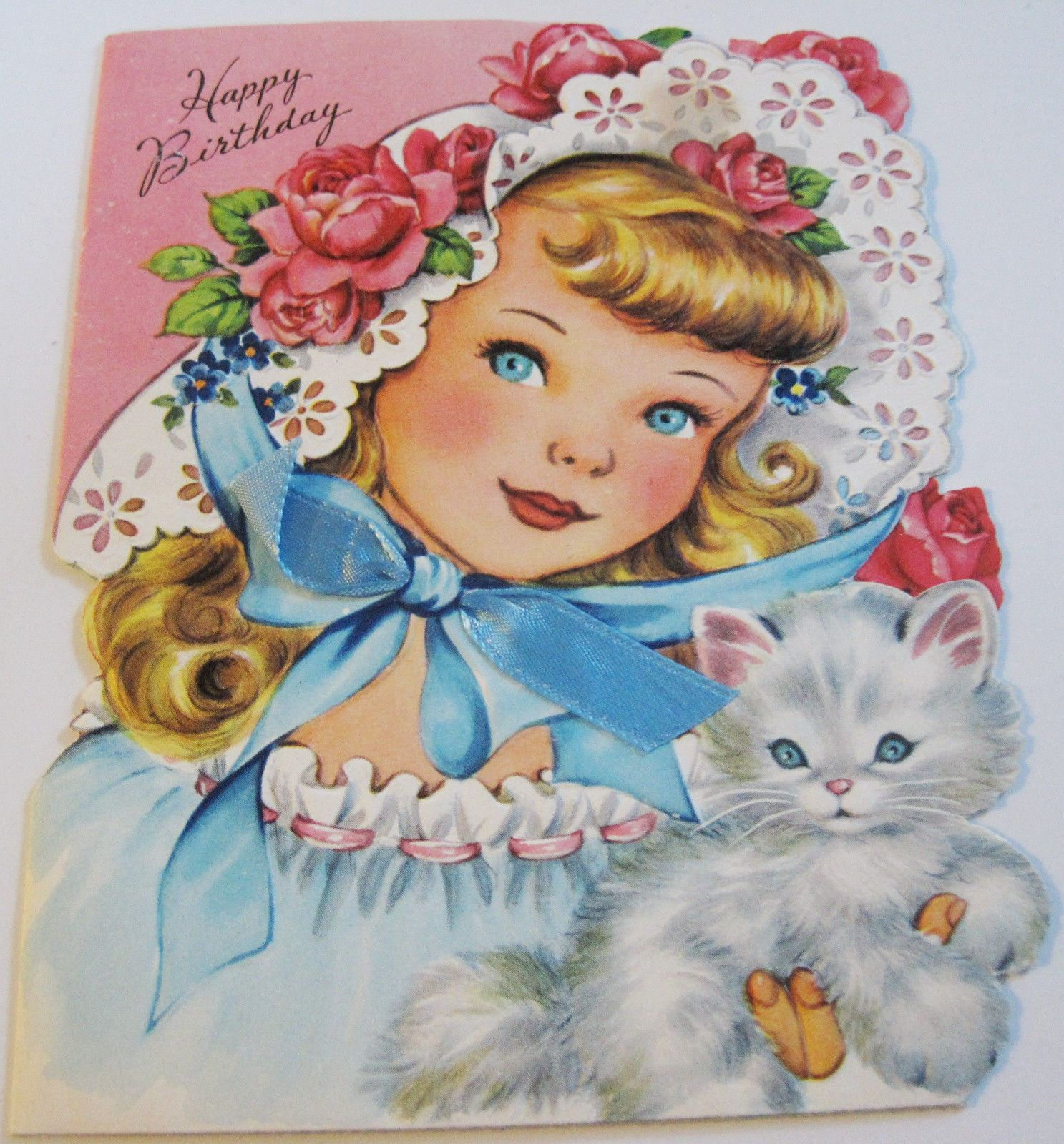 Used Vtg Birthday Card 1940 S Pretty Girl With Blue Bow And Kitten