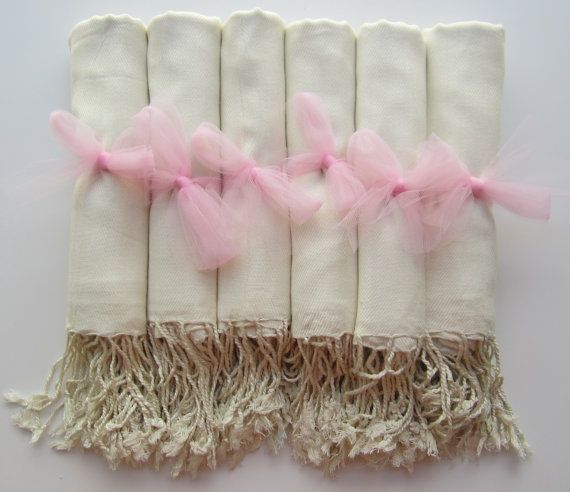 Shawls for guests at the ceremony?  Set of 6 Ivory Shawls Pashmina Scarf Wedding Favor by YadisCloset, $57.00