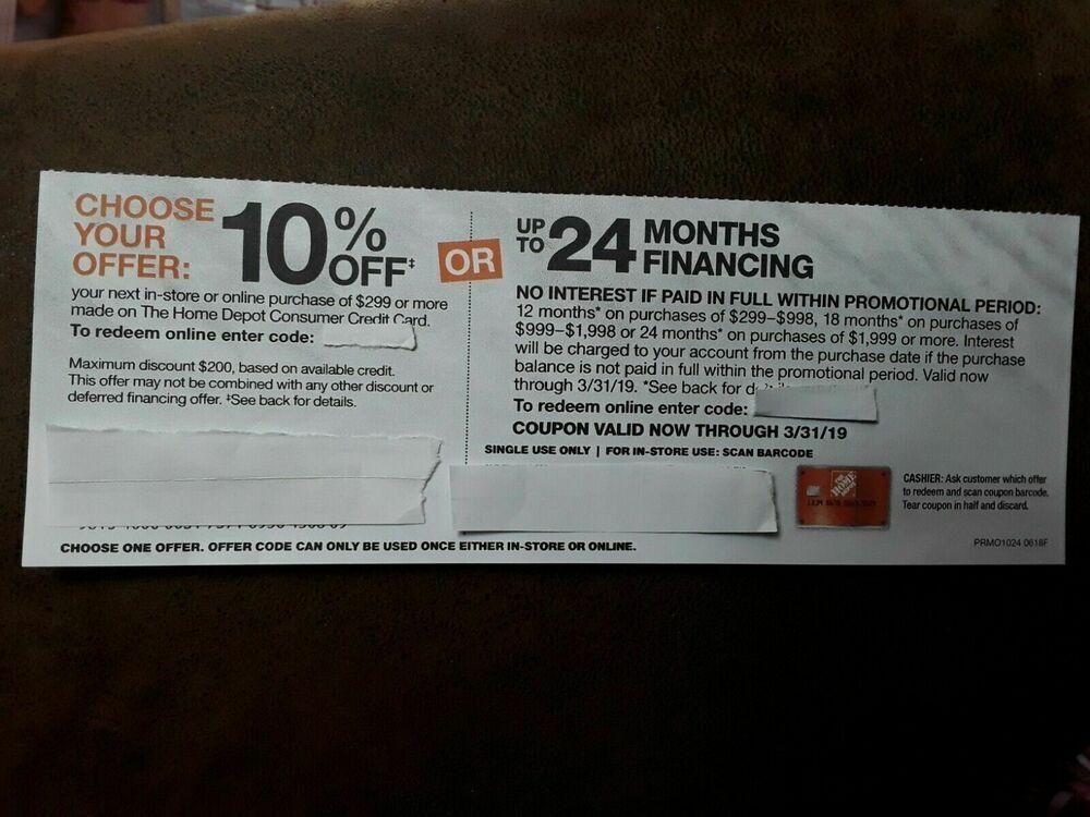 Home Depot Credit Card Discount 10