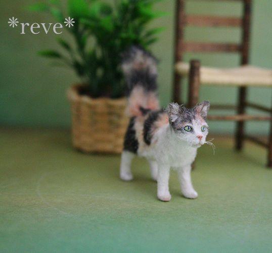 Calico Cat  Miniature Dollhouse Picture