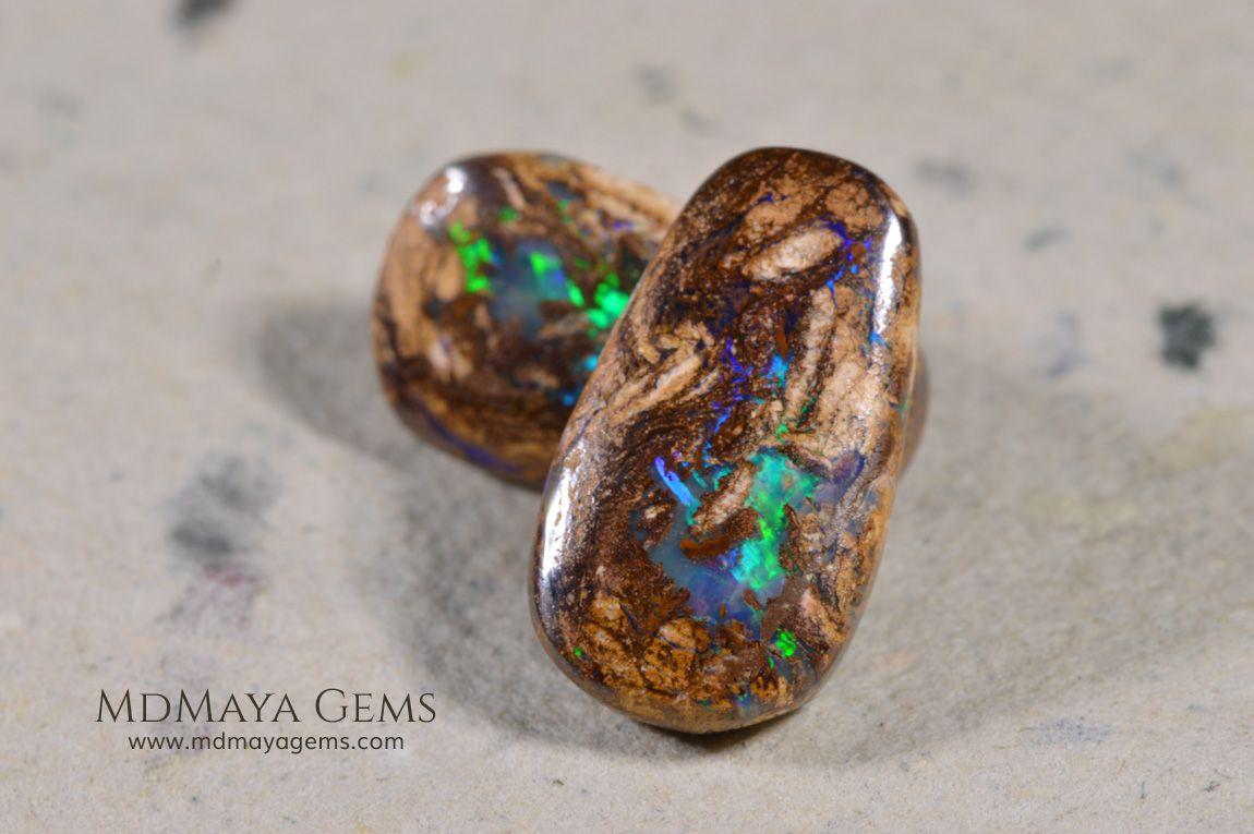Australian boulder wood fossil opal pair 983 ct