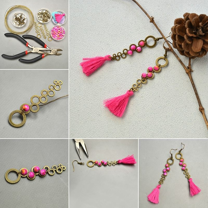 1080-How-to-Make-Hot-Pink-Jade-Bead-Vintage-Earrings