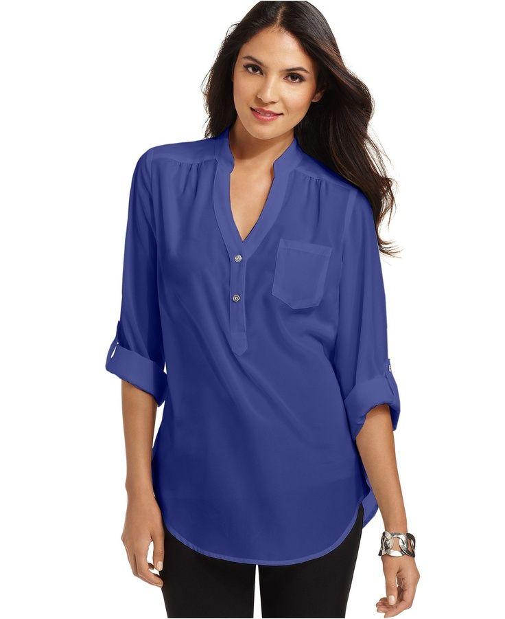 Women Shirttail Hem Untucked Agb Top Long Sleeve Shirttail Hem