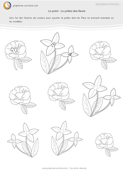 graphisme ms les points ajouter du pollen sur les fleurs graphisme moyenne section. Black Bedroom Furniture Sets. Home Design Ideas