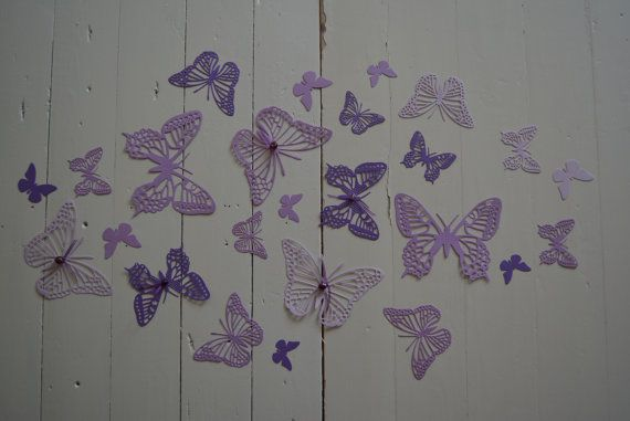 3d Paper Butterfly Wall Art From Cardstock In Ombre Purple Shades