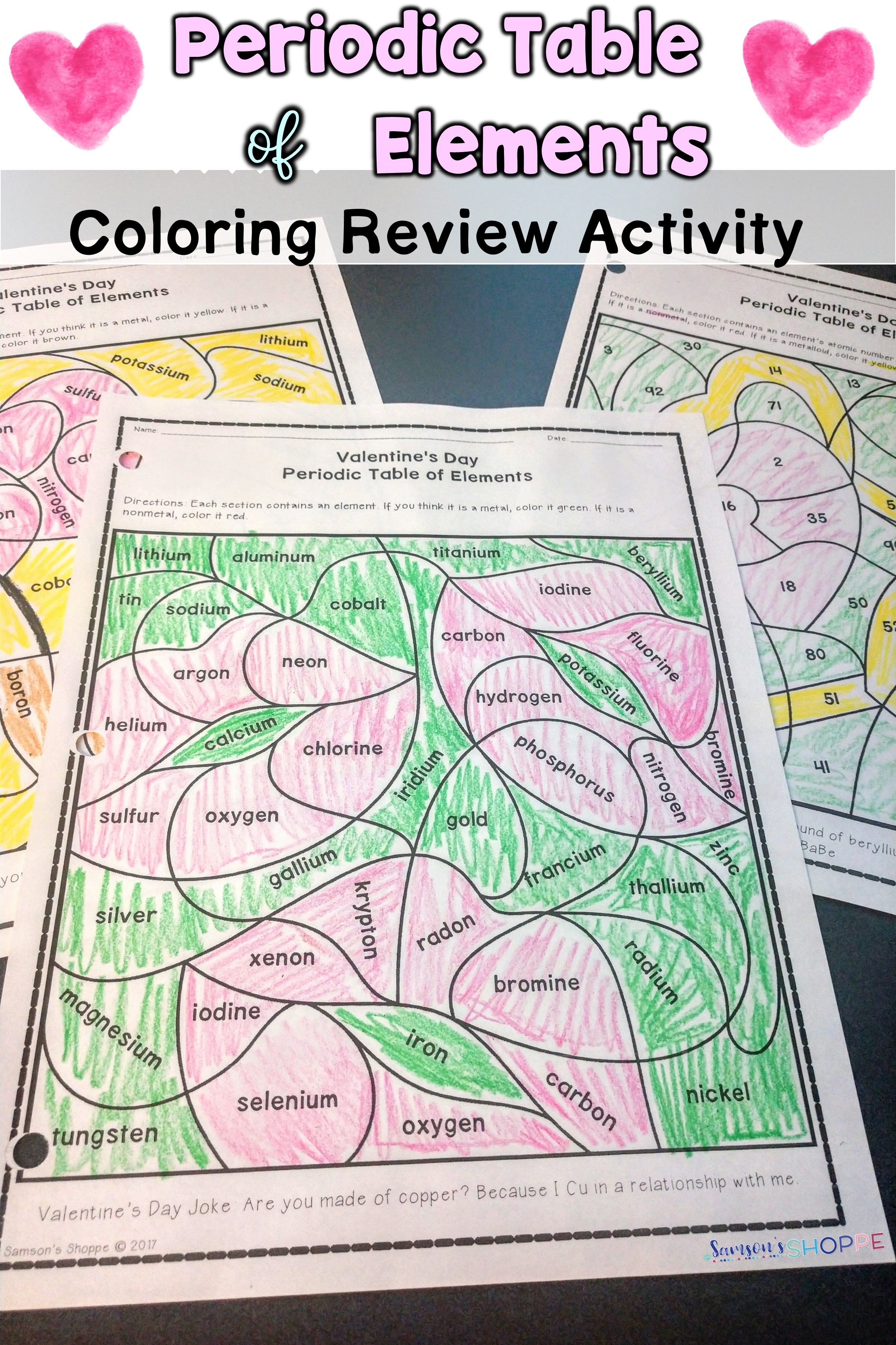 Periodic Table Of Elements Valentine S Day Review Activity