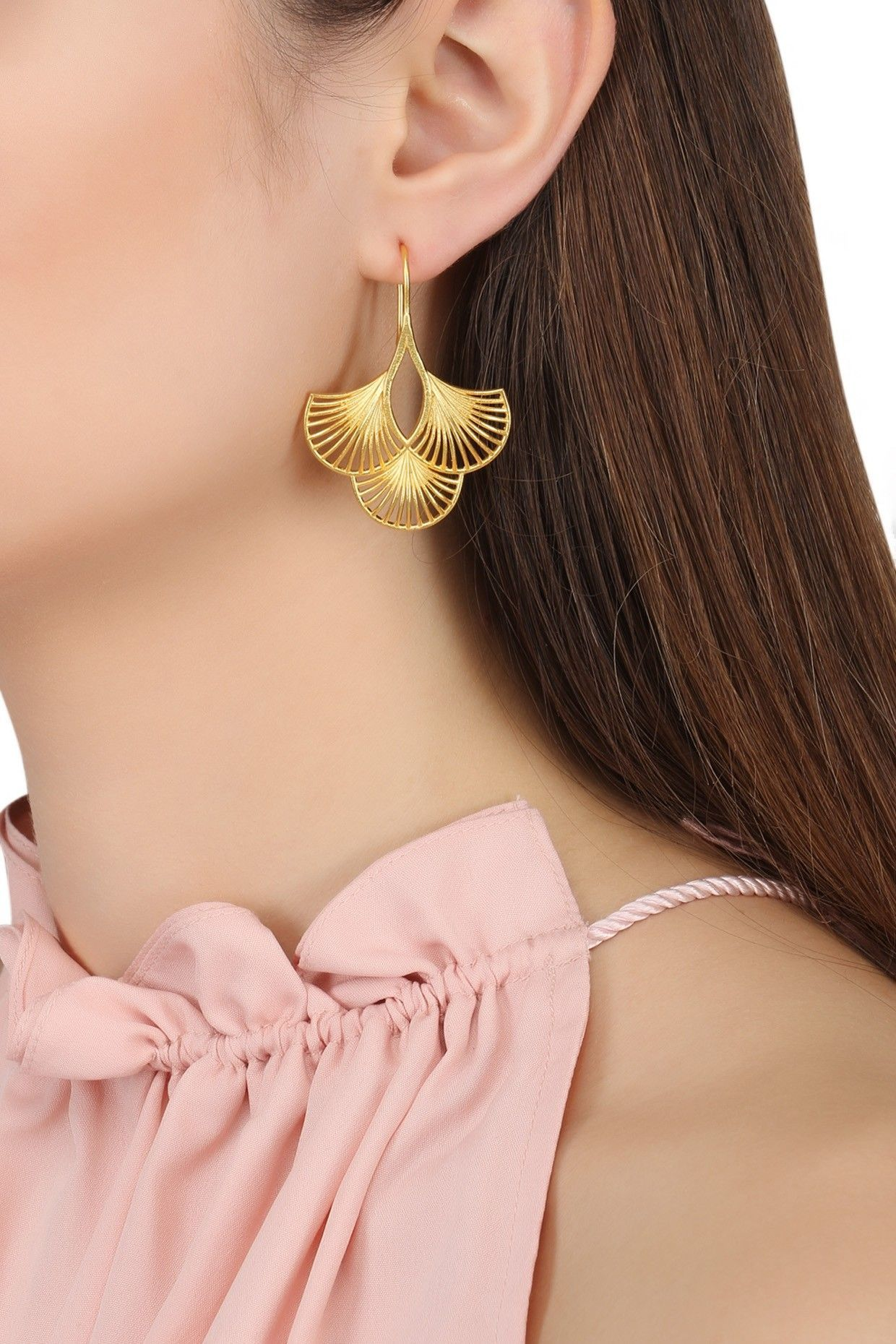 Gold Plated Three Petal Earrings. Shop now! ZARIIN Gold Plated Three Petal Earrings. Shop now!