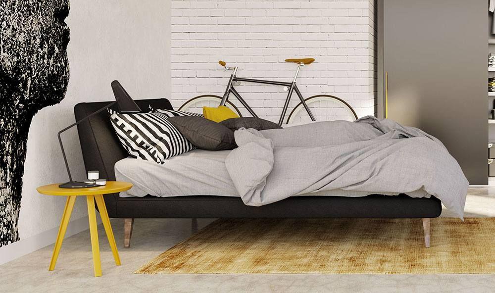 Letto matrimoniale in ecopelle con rete a doghe #bedroom #bed