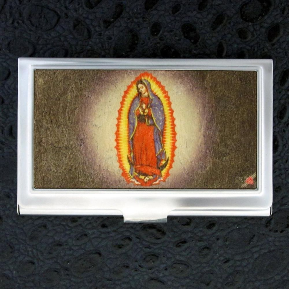 Details About Id Case Virgin Mary Business Card Holder Wood Inlay