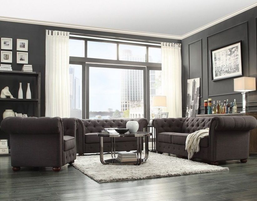 Elegant Chesterfield Living Room Set   Tufted Tuxedo Sofa, Loveseat U0026 Armchair In  GRAY Linen Showcasing
