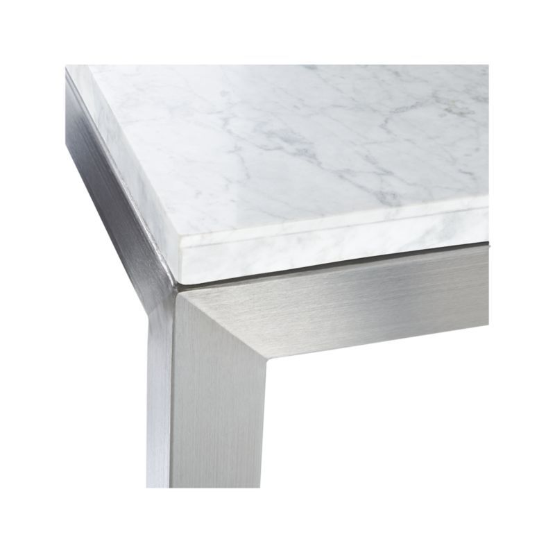 Parsons White Marble Top Stainless Steel Base 60x36 Large Rectangular Coffee Table