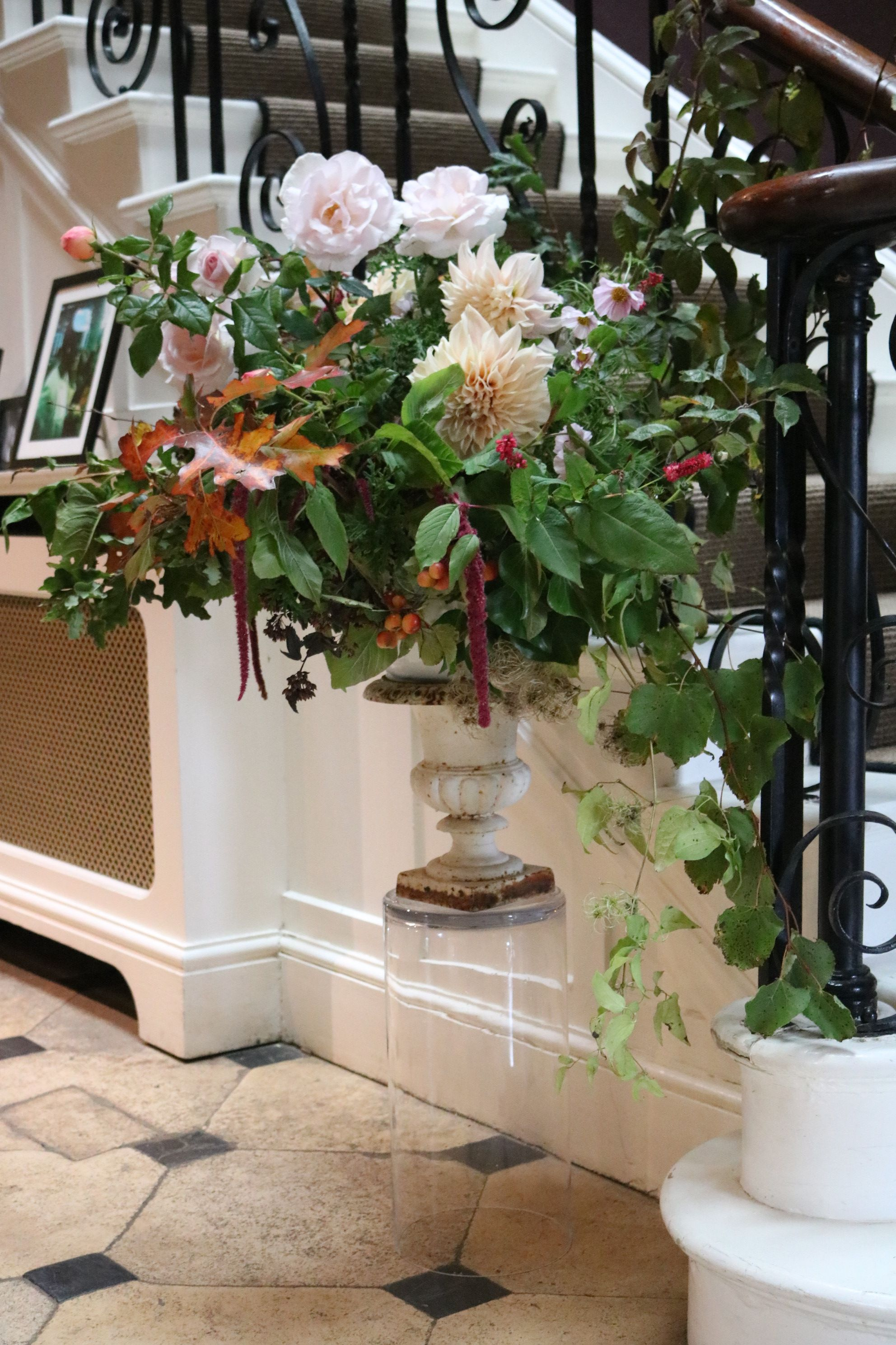 No floral foam in this classic country house urn full of