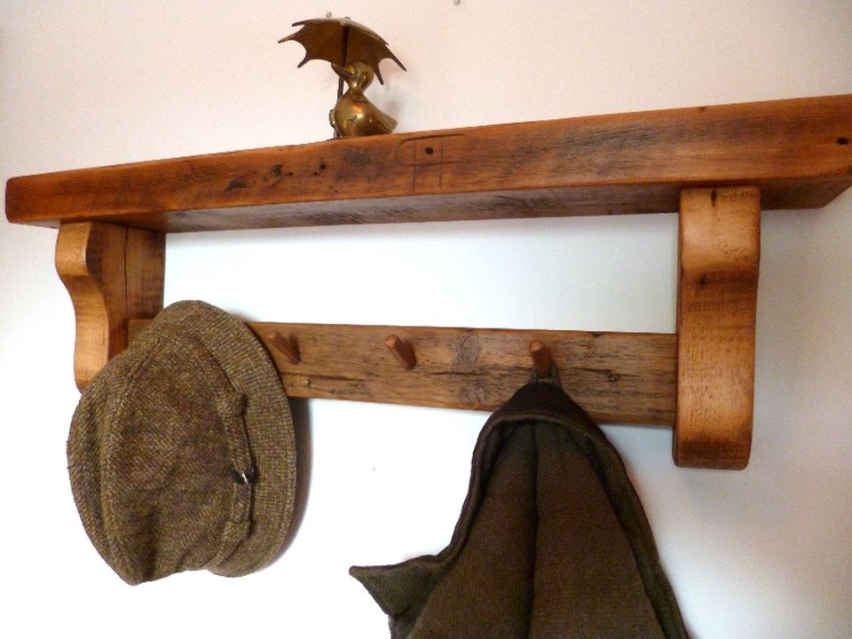 Rustic Wooden Shelf With Coat Pegs Rustic wooden shelves