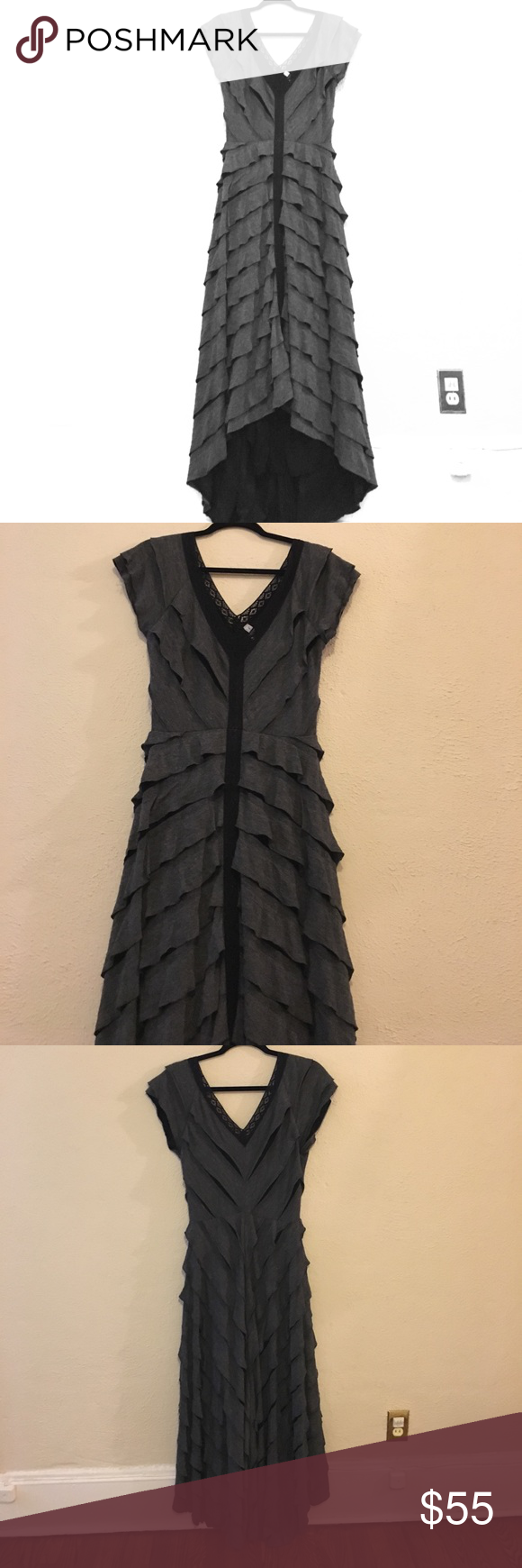Beautiful grilled dress Long dress with frills and lace. Super flattering, small train in the back. Worn once Free People Dresses Maxi