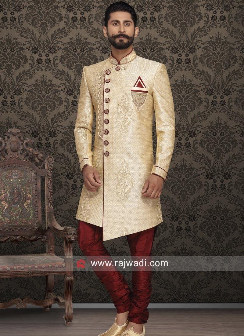 Brocade Silk Sherwani For Wedding Rajwadi Designer Exclusive