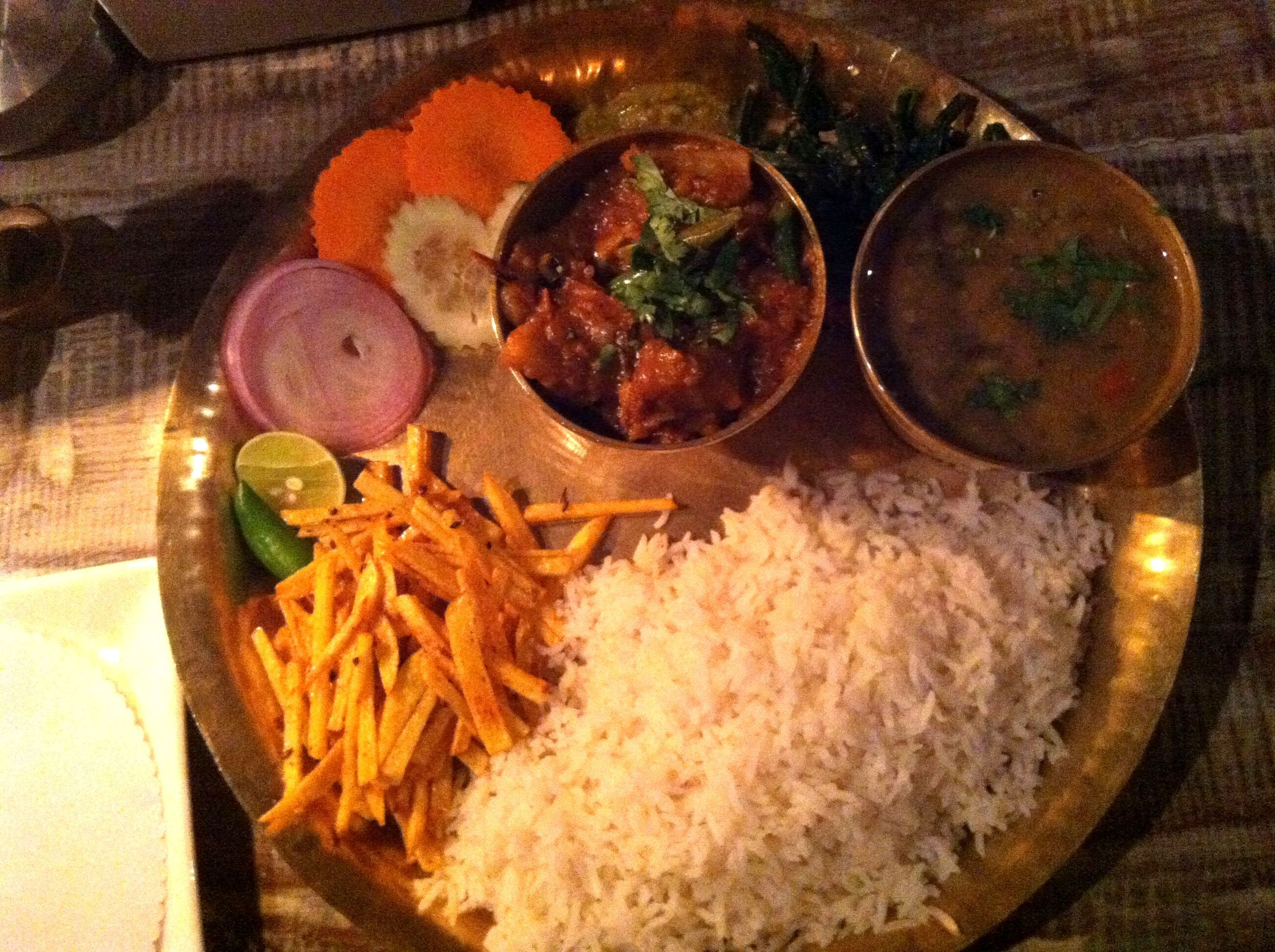 nepalese thali Serving food, Food, Chow mein