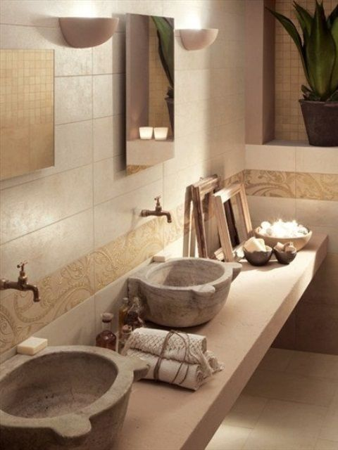 This Stone Bathroom Uses Earthenware As Sink And Furnished With - 50 wonderful stone bathroom designs
