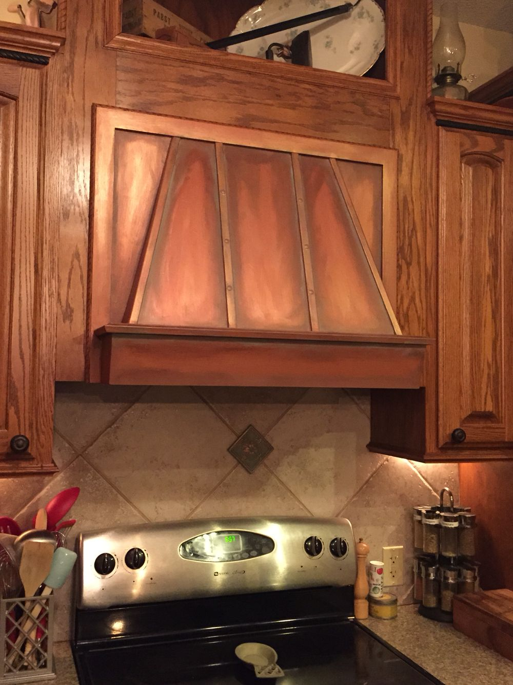Faux Painted Copper Range Hood With