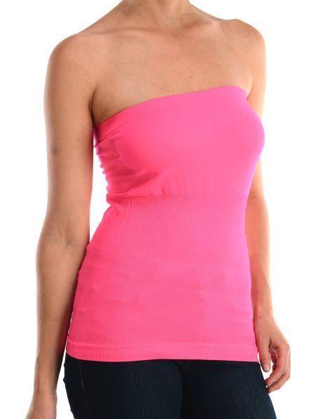 3a52fa30a41 Basic Layering Stretch Plain Strapless Tube Top Seamless Sleeveless Tee  Shirt