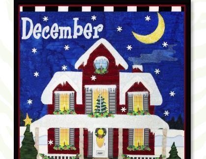 DECEMBER ChristmasHoliday Houseappliqué quilt patterns designed by Debra Gabel Of Zebra Patterns.com# quilting #appliqué
