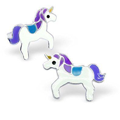 f62bb550c81a Laimons - Pendientes con forma de unicornio para niña - Plata de ley ...