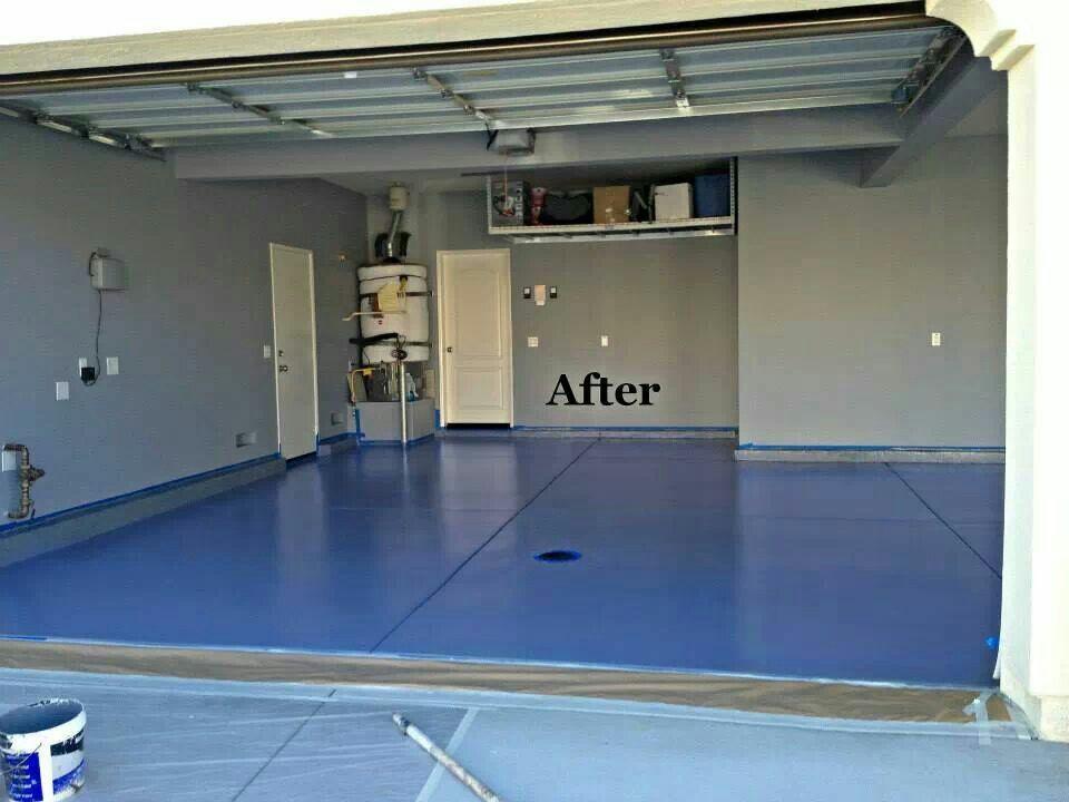 Concrete garage floor Epoxy after Garage floor epoxy