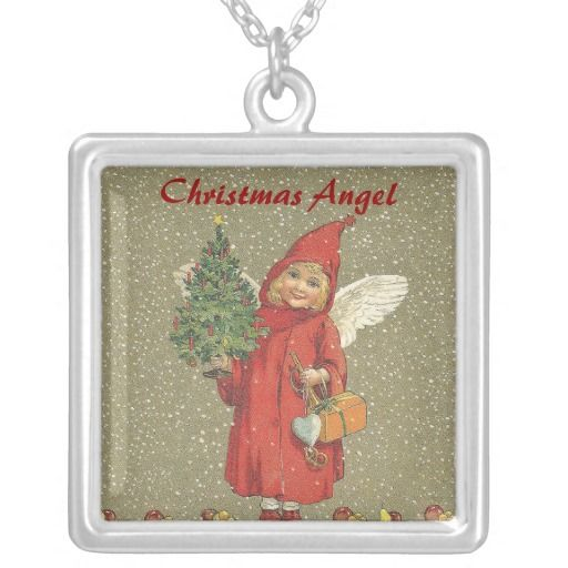 Victorian Christmas Angel Tree Fruit Pendant Necklace